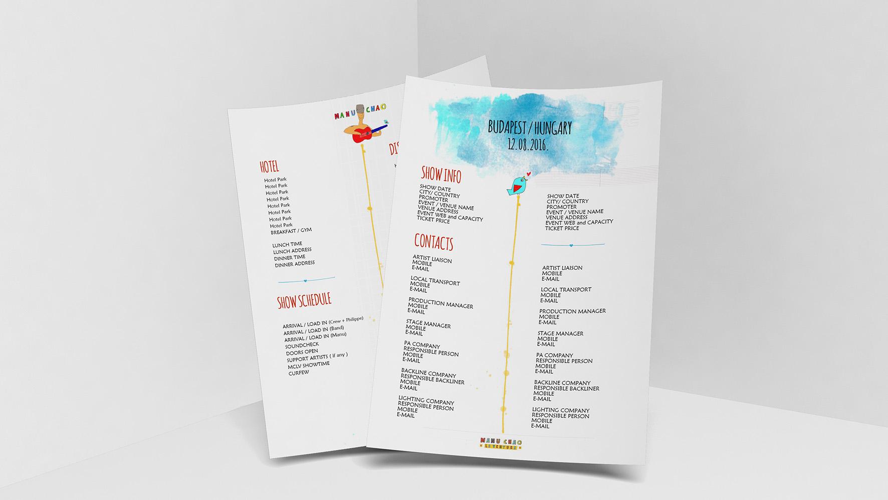 Manu Chao event sheet